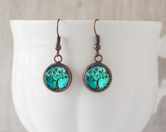 Copper Tree Earrings • Whimsical Fantasy Tree of Life • Artisan Jewelry • Turquoise Dangle Earrings • Gift for Her • Birthday Gift • 1/2inch