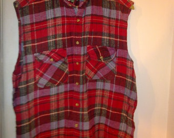 vintage plaid shirt sleeveless 90s  very good condition