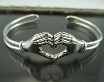 Sterling Silver Hand Made Hand Heart Symbol Cuff Bracelet- Original Sterling Silver Hand Heart Love Cuff Bracelet- Silver Heart Bracelet