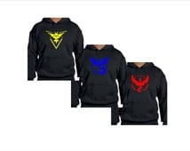 Pokemon Go Team Valor Team Mystic Team Instinct Pokeball Hoodies Black .Adult Hoodie. Youth Hoodie. Plus Sizes. Limited Supplies 5XL