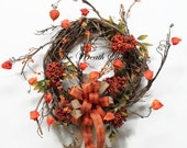 Bittersweet Fall Wreath, Front Door Wreath, Fall Door Wreath, Unique Country Wreath, Everyday Wreath, Rustic Door Decor, Orange Berry Wreath