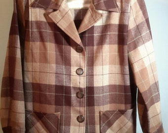 50's Frisco Jack beige and brown wool jacket size S/M