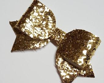 gold hair bow.MINI hair bow.gold glitter hair bow.gold baby headband.gold chunky baby hair clip.infant headband.newborn headband.glitter bow