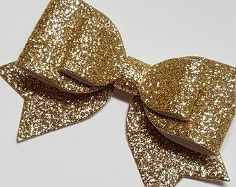 big gold hair bow.gold glitter hair bow.gold baby headband.gold  baby hair clip. infant headband. newborn headband.gold double glitter bow