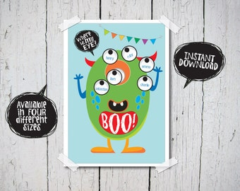 Monster Party Game, Pin the Eye on the Monster, party Printable, INSTANT DOWNLOAD, Cute Party Game, FIrst Birthday Party Game