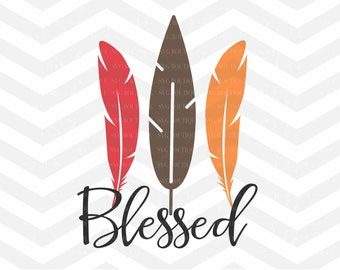 Blessed SVG File, Autumn Cut File, Thanksgiving SVG File, SVG Cut File,  Leaves Cut File, Branches, Cricut, Silhouette, Thanksgiving,  Fall