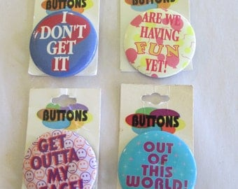 Vintage 90s Novelty Button Pins (Lot of 4)