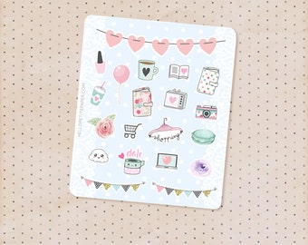 Mini sampler set - 20 Cute planner stickers / functional and decorative