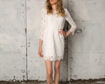 Open back long sleeved short lace dress, Masha
