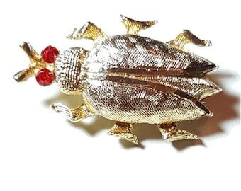 Goldtone Bug Pin Brooch with Rhinestone eyes