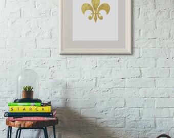 Fleur De Lis Print - A3 A4 A5 - Gold Silver Pink Red Green Blue Purple Brown - Wall Art - Interior Design - Home Decor - Frame