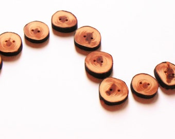 12 Juniper wood buttons, wood buttons for knitting, crochet, sewing and scrapbooking