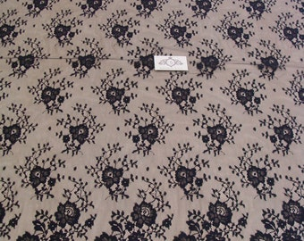Black chantilly Lace fabric, Wedding lace, black chantilly lace fabric, flower pattern
