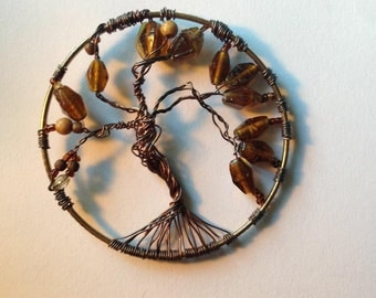 Copper wire tree of life pendant