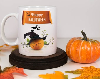 Pumpkin Mug | Happy Halloween and Bats Flying Mug | Halloween Coffee Mug | Halloween | Trick or treat | Gift for Him or Her | Cuevex Mugs