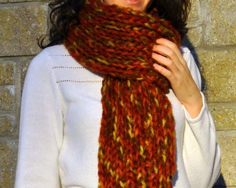 Rust Long Scarf in Ribbed Knit - Chunky Hand Knit Scarf