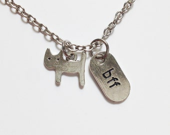 Best friend necklace - bff necklace - cat necklace - friendship necklace - silver necklace - best friend gift - birthday gift
