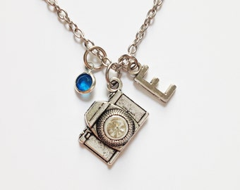 Camera necklace - Silver camera charm - personalized necklace - birthstone - initial letter - customized - friendship - best friend
