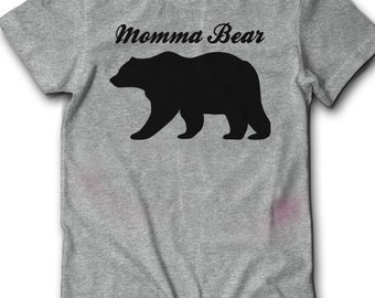 Momma Bear T-Shirt Pregnancy Reveal Shirt Women Ladies Gift Ideas For Her New Mom Baby Shower Announcement Pregnant Preggers Soft Cute