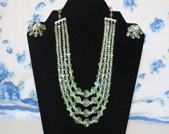 Vintage Light Green Aurora Borealis Four Strand Necklace and Earring Set