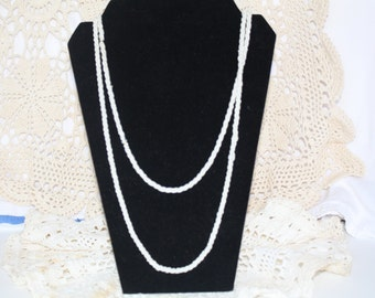 Mid Century White Beaded Long Necklace