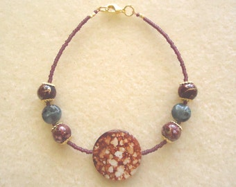 Purple & Gold Spotted Shell Bracelet With Natural Green Silvermist Jasper