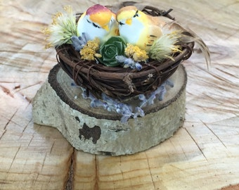 Lovebirds Wedding Cake Topper/ Rustic Wedding Decorations/ Woodland Cake Decorations