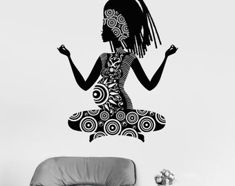 Wall Vinyl Decal Pregnant Woman Yoga Buddha Meditation Decor 240di