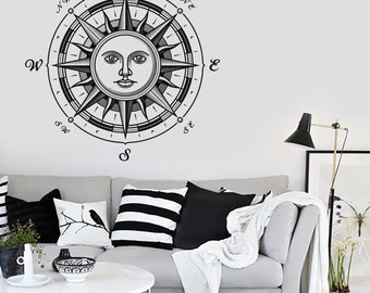 Wall Vinyl Decal Compass Sun Ornament Nautical Marine Science Traveling Modern Beach Home Decor (#1121dz)