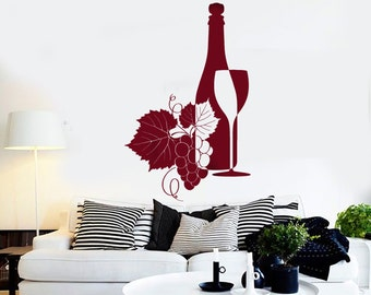 Wall Vinyl Decal Wine Bottle Wine Glass Winery Wine Grapes Wine Seller Decor Restaurant Kitchen Home Decor (#1223dz)