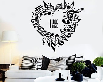 Wall Vinyl Music Notes Love For Bedroom Guaranteed Quality Decal  Mural Art 1513dz