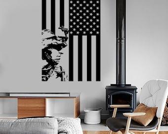 Wall Vinyl US Soldier Marine Seal US Flag Guaranteed Quality Decal Mural Art 1630dz