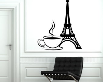Wall Decal Paris France Eiffel Tower Cup Of Coffee Love Vinyl Decal Sticker 1835dz