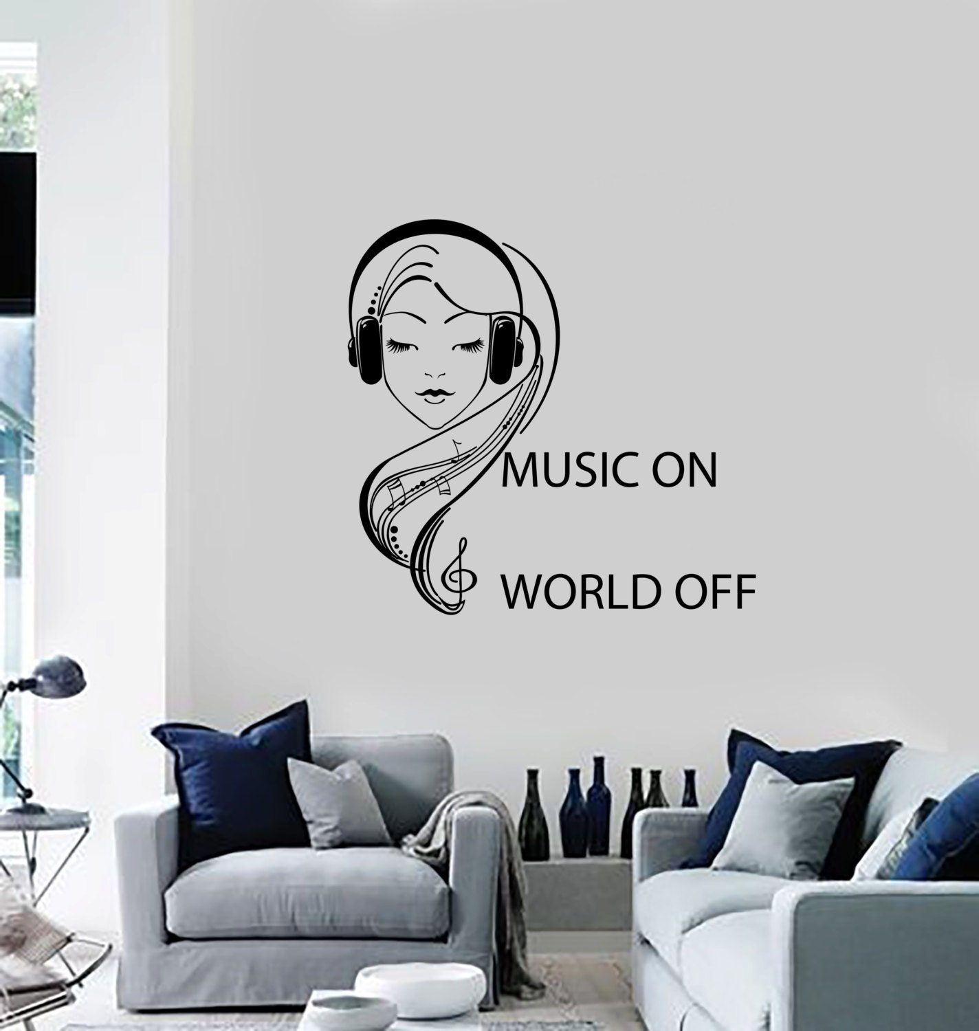 Wall vinyl decal music on world off quote teenage girl in zoom amipublicfo Image collections