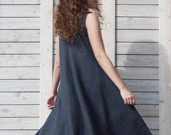Linen swing summer dress / Sleeveless dress / Loose fit  day dress