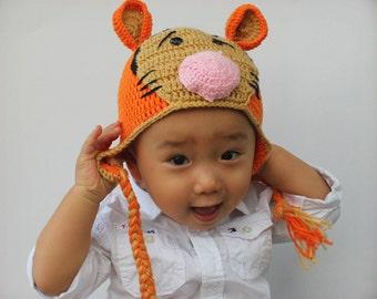 Crochet Tiger Hat, Baby Tiger Hat, Crochet Tiger Beanie, Photo prop
