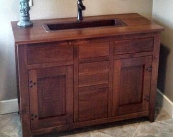 Amish Mccoy Vanity Bathroom Sink Cabinet Quarter Sawn Mission