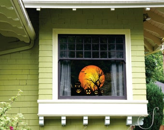 Hollow Moon Halloween / Special holiday home décor wall decal / vinyl graphic art / window sticker