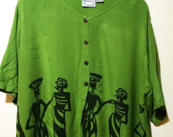 Lime Green Oversized African Print Button up