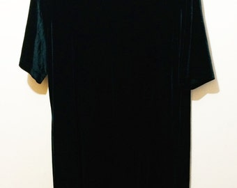 Deep Dark Green 90's Short Sleeved Velvet Dress