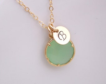 Green Mint Necklace, Initial Light Green Charm, Pistachio, Seafoam, Gold Filled, Bridesmaid Jewelry, Wedding Jewelry, Personalized Gift