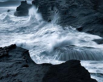 Deathly Swells, black and white, cape kiwanda, oregon, oregon coast, seascape, ocean, photo, pacific city, wall art, photography