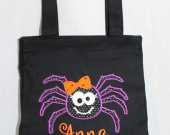 Halloween Trick or Treat Bag, Halloween Tote Bag, Personalized Trick or Treat Bag - Canvas Bag with Appliqued with Girl Spider