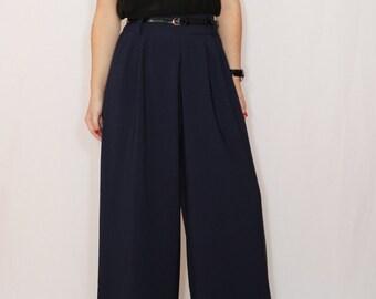 High waist Wide leg pants Navy pants with pockets