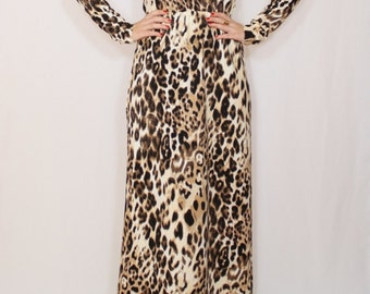 Animal print dress Long leopard dress Leopard Maxi dress with sleeves