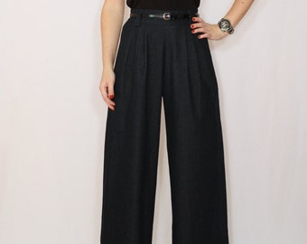 Black Pants Denim pants High waist Wide leg pants with pockets