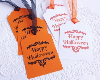 Happy Halloween Tags, Orange and Black Tags, Scallop Tags, Cardstock Hang Tags, Gift Tags