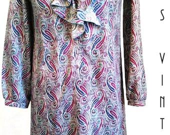 "Plus Size 1980s Paisley Dress Secretary Silky Ruffles Walden Classics UK 16 EU 44  US 12 Bust 42"" 107cm"