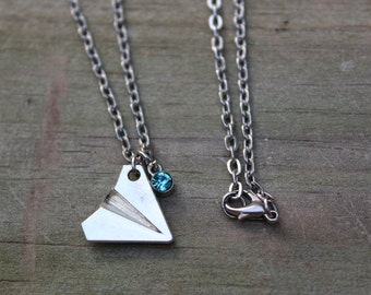 Silver Paper Airplane Necklace • Personalized w Birthstone Charm • 1D • Harry Styles • Taylor Swift Inspired • Aviation • Modern, Geometric