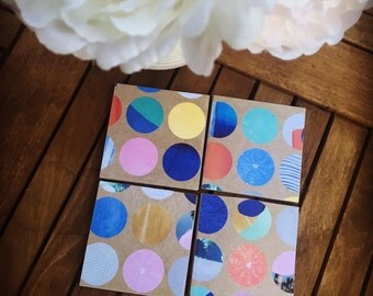 Summer bright coaster - ceramic tile coasters - set of 4